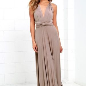 Lulus convertible dress taupe